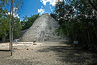 Tucked deep into the jungle, the large cluster of ruins at Cobá have largely been left as they were found and are considered to be older than Chitchen Itza. The main attraction is an impressive 138-foot pyramid that towers above the jungle called Nohoch Mul (large hill). Enthusiastic visitors to the ruins at Cobá on Mexico's Yucatán Peninsula are still allowed to climb the surprisingly steep 138-foot pyramid that towers above the jungle called Nohoch Mul (large hill). The reward is a stunning panoramic view.