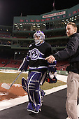 Matt Ginn (HC - 35), Cameron Parker - The Bentley University Falcons defeated the College of the Holy Cross Crusaders 3-2 on Saturday, December 28, 2013, at Fenway Park in Boston, Massachusetts.