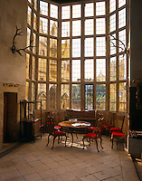The wonderful oriel in the Great Hall at Stanway has around a thousand panes of glass