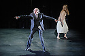London, UK. 03.02.2016. Simon McBurney returns to ENO to direct the first revival of his production of Mozart's THE MAGIC FLUTE. Picture shows: John Graham-Hall (Monostatos), Lucy Crowe (Pamina). Photograph © Jane Hobson.