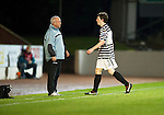 St Johnstone v Queens Park....25.09.12      Scottish Communities League Cup 3rd Round.Andrew Robertson walks past Gardner Spiers after being sent off.Picture by Graeme Hart..Copyright Perthshire Picture Agency.Tel: 01738 623350  Mobile: 07990 594431