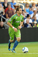 Zach Scott (20) defender Seattle Sounders in action... Sporting Kansas City were defeated 1-2 by Seattle Sounders at LIVESTRONG Sporting Park, Kansas City, Kansas.