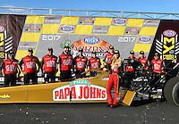 Feb 26, 2017; Chandler, AZ, USA; NHRA top fuel driver Leah Pritchett celebrates with crew after winning the Arizona Nationals at Wild Horse Pass Motorsports Park. Mandatory Credit: Mark J. Rebilas-USA TODAY Sports