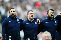 John Barclay, Stuart Hogg and Tommy Seymour of Scotland sing their national anthem. RBS Six Nations match between England and Scotland on March 11, 2017 at Twickenham Stadium in London, England. Photo by: Patrick Khachfe / Onside Images