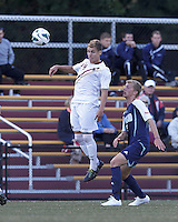 Boston College midfielder Christian Johnson (24) heads the ball. Boston College defeated University of Rhode Island, 4-2, at Newton Campus Field, September 25, 2012.