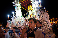 "In a procession on Wednesday during Holy Week the images of Jesus of Nazareth, the Virgin Mary, St. John the Baptist and Veronica meet in the plaza of Ayacucho, Peru in what is called ""El Encuentro"" in Spanish. The floats were made by the Alarcon family who has been preparing religious floats for five generations."