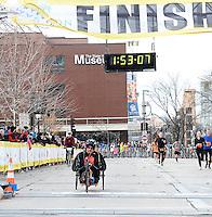 Matt Glowacki wins the Wheelchair Full Marathon during the Madison Marathon on Sunday in Madison