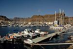 Yachts at moorings, Puerto Mogan, Gran Canaria, Canary Islands, Spain