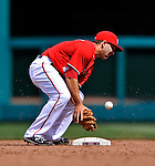2 April 2011: Washington Nationals infielder Danny Espinosa in action against the Atlanta Braves at Nationals Park in Washington, District of Columbia. The Nationals defeated the Braves 6-3 in the second game of their season opening series. Mandatory Credit: Ed Wolfstein Photo