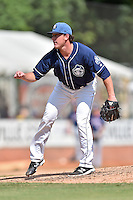 Asheville Tourists pitcher Sam Thoele (26) delivers a pitch during a game against the Hagerstown Suns and the  at McCormick Field on September 5, 2016 in Asheville, North Carolina. The Suns defeated the Tourists 9-5. (Tony Farlow/Four Seam Images)