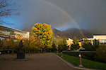 1310-51 081.CR2<br /> <br /> GCS Rainbow on campus. Y mountain, Brigham Young Statue<br /> <br /> Abraham Smoot Building<br /> Administration, X.<br /> <br /> October 16, 2013<br /> <br /> Photography by Mark A. Philbrick/BYU Photo<br /> <br /> Copyright BYU Photo 2013<br /> All Rights Reserved<br /> photo@byu.edu  (801)422-7322