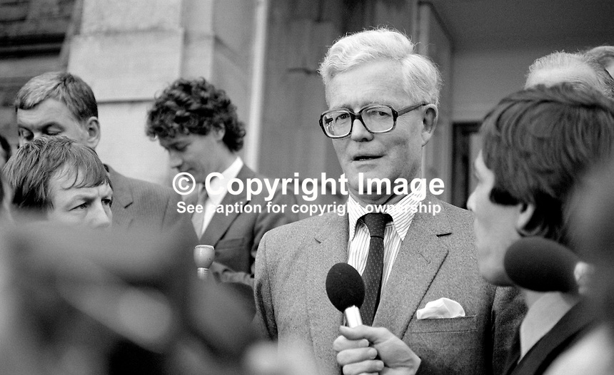Douglas Hurd, newly appointed Secretary of State for N Ireland, photographed on the occasion of his first Press Conference on the steps of Stormont Castle, Belfast, N Ireland, 27th September 1984, 19840111DH7.Copyright Image from Victor Patterson, 54 Dorchester Park, Belfast, UK, BT9 6RJ<br /> <br /> t1: +44 28 9066 1296 (from Rep of Ireland 048 9066 1296)<br /> t2: +44 28 9002 2446 (from Rep of Ireland 048 9002 2446)<br /> m: +44 7802 353836<br /> <br /> e1: victorpatterson@me.com<br /> e2: victorpatterson@gmail.com<br /> <br /> The use of my copyright images is subject to my Terms &amp; Conditions.<br /> <br /> It is IMPORTANT that you familiarise yourself with them. They are available on my website at www.victorpatterson.com.<br /> <br /> None of my copyright images may be used on a website unless they are visibly watermarked, i.e. &copy; Victor Patterson within the body of the visible image. Metadata denoting my copyright must NOT be deleted. <br /> <br /> Web use is extra at currently recommended NUJ rates.
