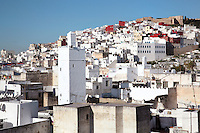 The medina or old town of Tetouan on the slopes of Jbel Dersa in the Rif Mountains of Northern Morocco. Tetouan was of particular importance in the Islamic period from the 8th century, when it served as the main point of contact between Morocco and Andalusia. After the Reconquest, the town was rebuilt by Andalusian refugees who had been expelled by the Spanish. The medina of Tetouan dates to the 16th century and was declared a UNESCO World Heritage Site in 1997. Picture by Manuel Cohen
