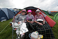 3/9/10 Dee O'Reilly, Stephanie Ryan and Charles Campbell, Westport at the Electric Picnic in Stradbally in Laois. Picture:Arthur Carron/Collins