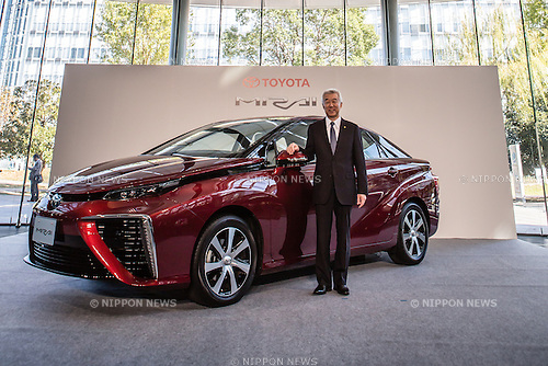 "November 18, 2014, Tokyo, Japan - Mitsuhisa Kato, Executive Vice President of Toyota Motor Corporation poses for the media during the unveiling of the company's new fuel cell vehicle (FCV) named ""Mirai"" (future) in central Tokyo on Tuesday, November 18, 2014. (Photo by AFLO)"