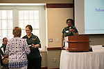 Judy Piercy, Interim Ombudsman for the Office of the Executive Vice President and Provost, receives the award for Excellence in Internal Communications - News award at the Campus Communicator Network Expo in Nelson Commons on Wednesday, May 11, 2016. © Ohio University / Photo by Kaitlin Owens