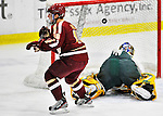 10 February 2012: Boston College Eagles forward Danny Linell, a Freshman from Great Neck, NY, sees the puck go in for a goal against the University of Vermont Catamounts at Gutterson Fieldhouse in Burlington, Vermont. The Eagles defeated the Catamounts 6-1 in their Hockey East matchup. Mandatory Credit: Ed Wolfstein Photo