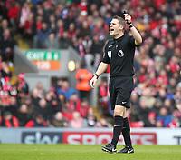 Referee Craig Pawson<br /> <br /> Photographer Rich Linley/CameraSport<br /> <br /> The Premier League - Liverpool v Burnley - Sunday 12 March 2017 - Anfield - Liverpool<br /> <br /> World Copyright &copy; 2017 CameraSport. All rights reserved. 43 Linden Ave. Countesthorpe. Leicester. England. LE8 5PG - Tel: +44 (0) 116 277 4147 - admin@camerasport.com - www.camerasport.com
