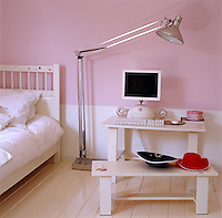 The children's bedroom is equipped with the latest Apple  computer