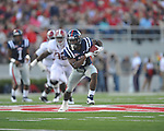 Ole Miss' Jeff Scott (3) runs vs. Alabama at Vaught-Hemingway Stadium in Oxford, Miss. on Saturday, October 14, 2011. Alabama won 52-7.
