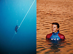 A portrait of Ashley Futral Chapman, member of the USA Freedive Team. She is able to dive 58 meters deep on one breath, not using fins or any weights. No SCUBA or other breathing apparatus is allowed in freediving competition.
