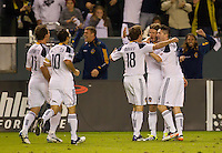 CARSON, CA - November 6, 2011: LA Galaxy players celebrating Mike Magee's goal during the match between LA Galaxy and Real Salt Lake at the Home Depot Center in Carson, California. Final score LA Galaxy 3, Real Salt Lake 1.