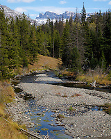 """Fall at the East Gate of Yellowstone with an early dusting of snow on the iconic """"Sleeping Giant"""" rock formation. From left to right you'll find the head, chest and feet."""