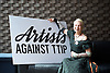 Artists Against TTIP <br /> The Transatlantic Trade &amp; Investment Partnership (TTIP) - a growing group of performers musicians designers directors who are raising awareness of the threats posed by TTIP. <br /> at the Young Vic Theatre London Great Britain <br /> 2nd July 2015 <br /> <br /> <br /> Dame Vivienne Westwood <br /> <br /> <br /> <br /> Photograph by Elliott Franks <br /> Image licensed to Elliott Franks Photography Services