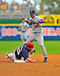 8 March 2009: New York Mets' infielder Gregory Veloz gets an out at second but is unable to turn a double-play during a Spring Training game against the Washington Nationals at Space Coast Stadium in Viera, Florida. The Nationals defeated the Mets 8-3 in the Grapefruit League matchup. Mandatory Photo Credit: Ed Wolfstein Photo