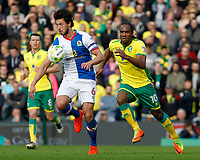 Blackburn Rovers' Jason Lowe gets away from Norwich City's Cameron Jerome<br /> <br /> Photographer David Shipman/CameraSport<br /> <br /> The EFL Sky Bet Championship - Norwich City v Blackburn Rovers - Saturday 11th March 2017 - Carrow Road - Norwich<br /> <br /> World Copyright &copy; 2017 CameraSport. All rights reserved. 43 Linden Ave. Countesthorpe. Leicester. England. LE8 5PG - Tel: +44 (0) 116 277 4147 - admin@camerasport.com - www.camerasport.com
