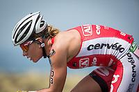 Caroline Steffen on the bike at the 2013 Ironman World Championship in Kailua-Kona, Hawaii on October 12, 2013.