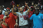 "Students cheer and hold masks of Ole MIss senior guards Chris Warren and Zach Graham at C.M. ""Tad"" Smith Coliseum in Oxford, Miss. on Saturday, March 5, 2010. Ole Miss beat Arkansas 84-74."