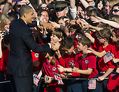 United States President Barack Obama greets students during the Arrival Ceremony for Prime Minister David Cameron of Great Britain at the White House in Washington, D.C. on Wednesday, March 14, 2012..Credit: Ron Sachs / CNP