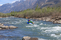 Packrafting Ernie Creek, Gates of the Arctic National Park, Brooks Range, Alaska.