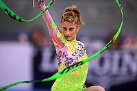 Eleni Andriola of Greece performs with ribbon during seniors All-Around competition at 2008 European Championships at Torino, Italy on June 6, 2008.  Photo by Tom Theobald.