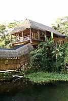 Restaurant and main building at the Reserva Ecologica de Nanciyaga,  an ecological reserve and ecolodge on Laguna Catemaco, Veracruz, Mexico