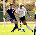 2 September 2007: University of Vermont Catamounts' Lindsey Mucia (22), a Freshman from Fairfax, VT, battles George Washington University Colonials' Ashleigh Barkley (11), a Freshman from Phoeniz, AZ at Historic Centennial Field in Burlington, Vermont. The Colonials rallied to defeat the Catamounts 2-1 in overtime during the TD Banknorth Soccer Classic...Mandatory Photo Credit: Ed Wolfstein Photo