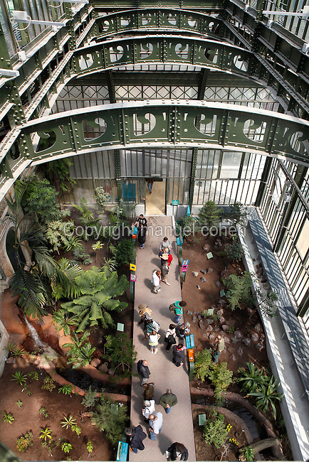 New Caledonia Glasshouse (formerly The Mexican Hothouse), 1830s, Charles Rohault de Fleury, Jardin des Plantes, Museum National d'Histoire Naturelle, Paris, France.  View from above of the interior of the glasshouse showing the newly planted areas representing the four forest climates: bottom left: arid forest; bottom right: mangrove swamp; top left: humid forest; top right: savannah. People on the central walkway are looking at the plants. Arching above are the metal girders of the glasshouse. The New Caledonia Glasshouse, or Hothouse, was the first French glass and iron building.