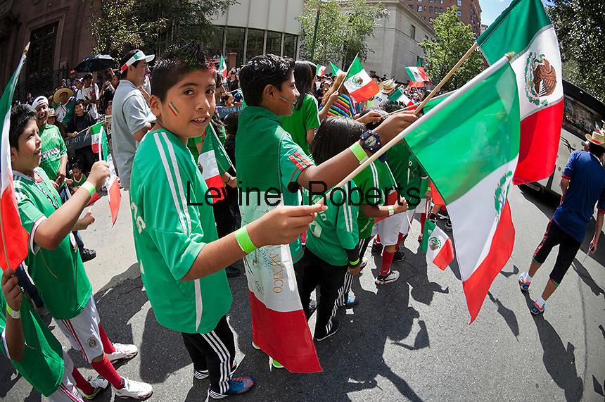 Mexican-Americans gather on Madison Avenue in New York on Sunday, September 16, 2012 for the annual Mexican Independence Day Parade. The parades that take place from the spring into the fall in New York celebrate the cultural diversity of the city. (© Richard B. Levine)