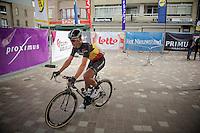 Belgian Champion Stijn Devolder (BEL/Trek Factory Racing) just signed in and on his way to the start<br /> <br /> Gent-Wevelgem 2014