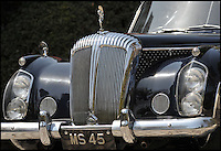 BNPS.co.uk (01202 558833)<br /> Pic: Bonhams/BNPS<br /> <br /> Downfall - The car that led to the chairman of Daimler's dramatic fall after the extravagent behaviour of his notorious socialite wife.<br /> <br /> This luxurious limousine designed by legendary aristocrat Lady Docker as a vanity project, and which eventually cost her and her husband their jobs, is tipped to sell for &pound;160,000 at Bonhams.<br /> <br /> The unique 'Stardust' Daimler was one of five show cars styled by exuberant socialite Lady Docker and cost so much they almost bankrupt the company behind them.<br /> <br /> The 1954 dark blue Daimler was so lavish it has 5,000 hand painted silver stars on the exterior, an interior full of crocodile skin and hand woven silk, and even a dancer mascot on the bonnet modelled on ex-showgirl Norah Docker herself.<br /> <br /> The flamboyant vehicle is even being sold with an invitation to Princess Grace's Monaco wedding in 1956, to which the Dockers shipped two of the luxury cars for their own personal use, and was the final straw for frustrated Daimler board members back home in austerity hit Britain.