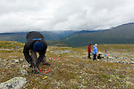 Students measure the electrical conductivity of the ground to determine the composition during climate change studies in Norway's Jotunheimen National Park.