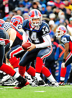 20 December 2009: Buffalo Bills' quarterback Ryan Fitzpatrick in action against the New England Patriots at Ralph Wilson Stadium in Orchard Park, New York. The Patriots defeated the Bills 17-10. Mandatory Credit: Ed Wolfstein Photo