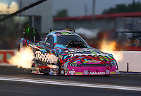 Apr 29, 2016; Baytown, TX, USA; NHRA funny car driver Courtney Force during qualifying for the Spring Nationals at Royal Purple Raceway. Mandatory Credit: Mark J. Rebilas-USA TODAY Sports
