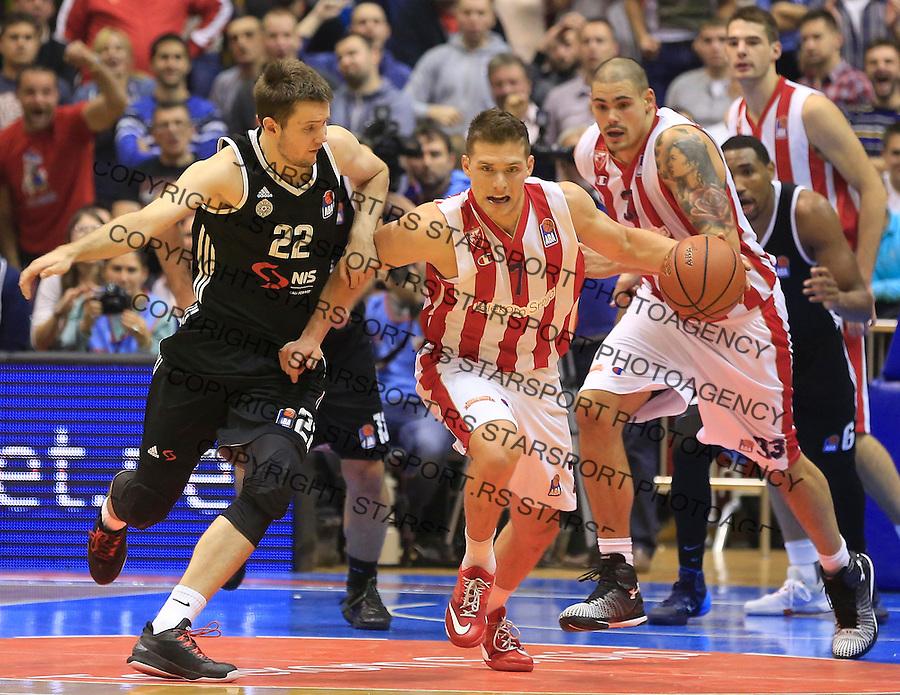 Kosarka ABA League season 2015-2016<br /> Crvena Zvezda v Partizan<br /> Gal Mekel and Andrija Milutinovic (L)<br /> Beograd, 03.11.2015.<br /> foto: Srdjan Stevanovic/Starsportphoto&copy;