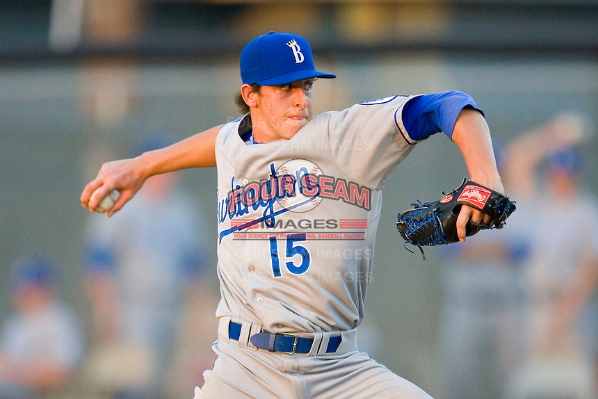 Chase Hentges #15 of the Burlington Royals in action versus the Johnson City Cardinals at Howard Johnson Stadium June 27, 2009 in Johnson City, Tennessee. (Photo by Brian Westerholt / Four Seam Images)
