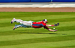 23 February 2013: Washington Nationals outfielder Corey Brown dives for a ball, but comes up short during Spring Training action against the New York Mets at Tradition Field in Port St. Lucie, Florida. The Mets defeated the Nationals 5-3 in their Grapefruit League Opening Day game. Mandatory Credit: Ed Wolfstein Photo *** RAW (NEF) Image File Available ***