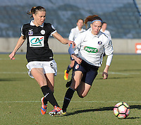 20170129 - LILLE , FRANCE : LOSC's Jana Coryn (R) and Juvisy's Sandrine Dusang (L) pictured during women soccer game between the women teams of Lille OSC and FFC Juvisy Essonne  during the 1/16 final for the 2017 French Cup at stade Lille Metropole , Sunday 29th of January ,  PHOTO Dirk Vuylsteke | Sportpix.Be