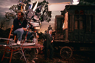 """April 27, 1990, Cinecitta, Rome, Italy. On the set of """"Il Viaggio DiCapitan Fracassa"""", (The Voyage of Captain Fracassa), Film Director Ettore Scola, works with his cast and crew. Among them are actors Ornella Muti and Vincent Perez."""