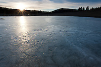 """Frozen Prosser Reservoir Sunset 1"" - A sunset photograph of an icy frozen over Prosser Reservoir in Truckee, CA."